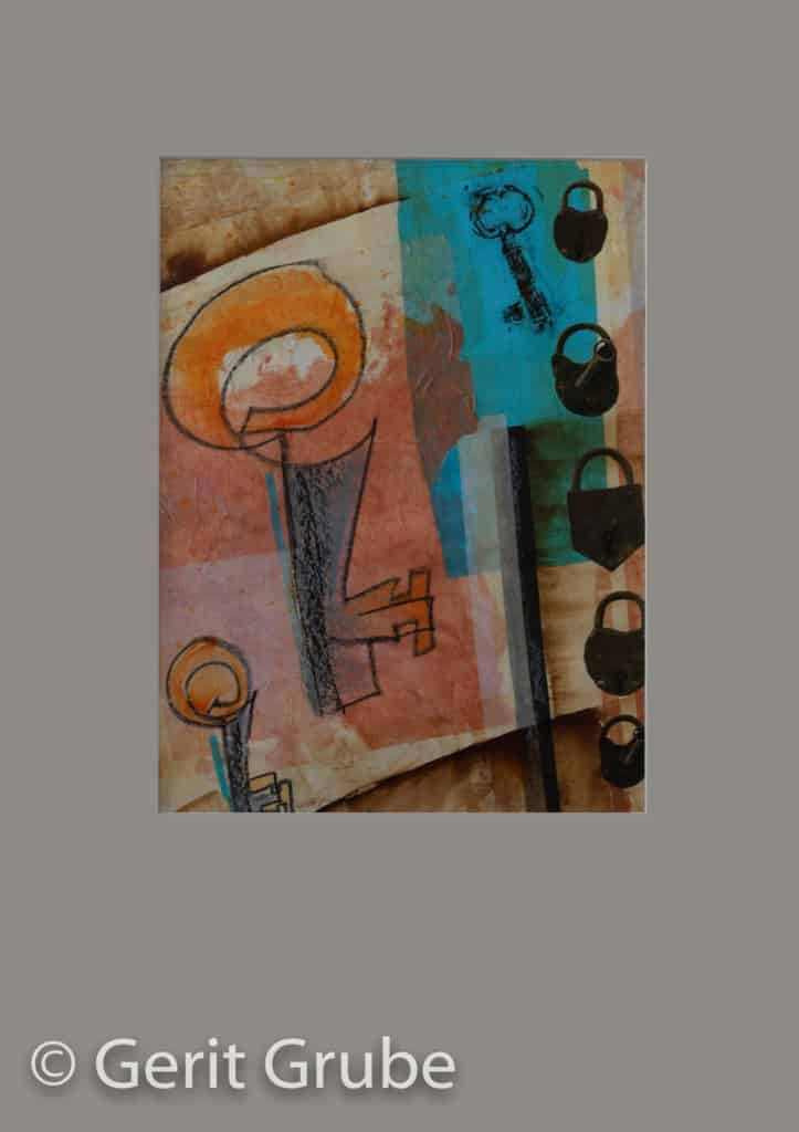 Der Weg zu Dir 1 - je 30 x 40 cm – im Rahmen je 51 x 71 cm - Collage Gerit Grube