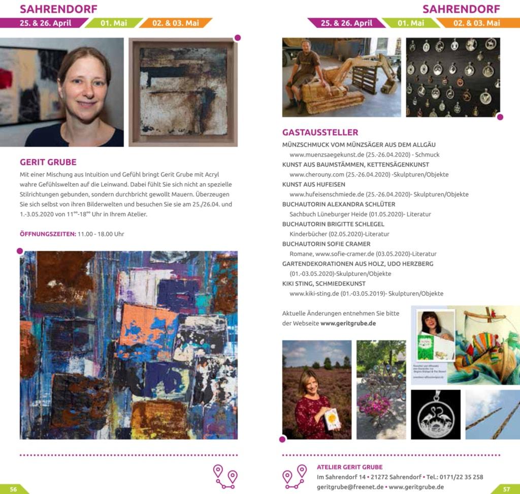 Auszug aus der Broschüre 2020 zur Heidekultour - Atelier Gerit Grube in Sahrendorf