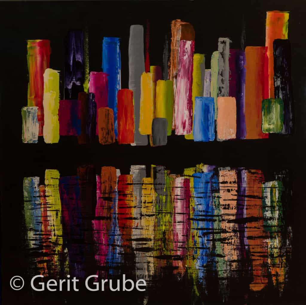 """""""Die gespiegelte Stadt"""" - 90 x 90 cm - Gerit Grube"""