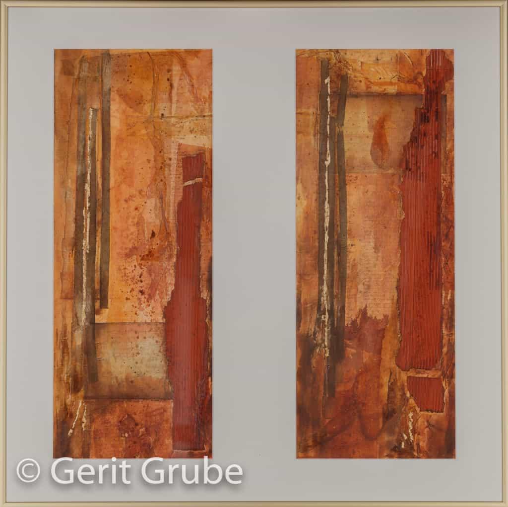Vergangene Schriften - 2 x 20 x 50 cm – im Rahmen 60 x 60 cm - Gerit Grube