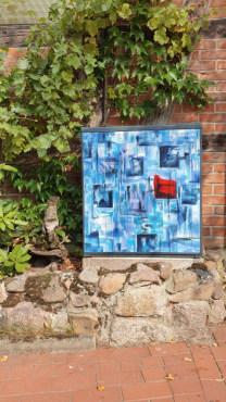 Kunstverteilerschrank Schneverdingen mit dem Werk Wahrhaftikgeit II von Gerit Grube, gesprayt vom Saém